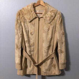 Vintage Greenlea Tan Coat-Cloth and Faux Fur